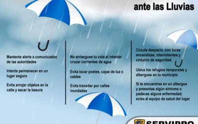 Sigue estas recomendaciones ante temporada de lluvias